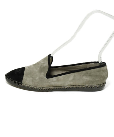 Chanel Grey Black Suede Flats 1