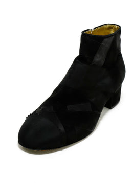 Chanel Black Suede Grosgrain Trim Booties 1