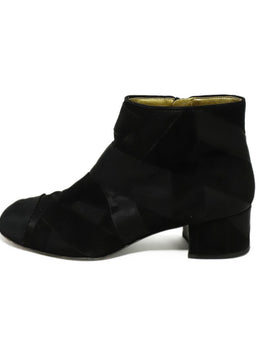 Chanel Black Suede Grosgrain Trim Booties 2