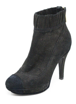 Chanel Black Suede Leather Boots