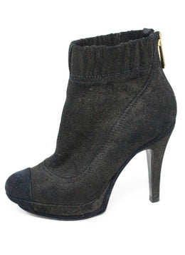 Chanel Black Suede Leather Boots 1