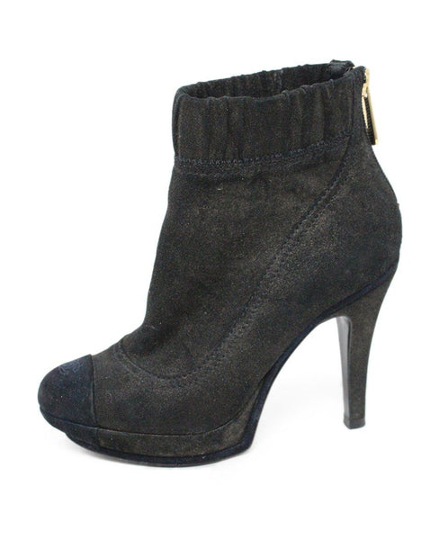 Chanel Black Suede Booties Sz 5.5