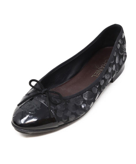 Chanel Black Ultrasuede Perforated Glitter Pearl Flats Sz 40.5