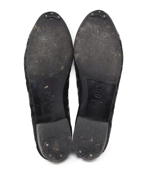 Chanel Black Suede Leather Bubble Flats 3