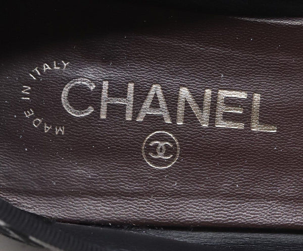 Chanel Black Suede Leather Bubble Flats Sz 40.5