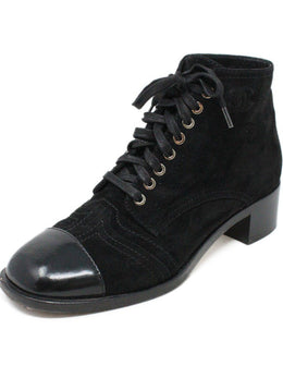 Chanel Black Suede Leather Lace-Up W/Dust Cover Booties 1