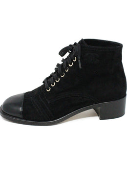 Chanel Black Suede Leather Lace-Up W/Dust Cover Booties 2