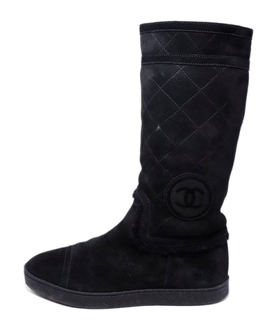 Chanel Black Suede Shearling Boots 1