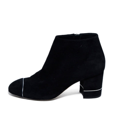 Chanel Black Suede Silver Piping Booties 1