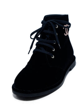 Chanel Black Velvet Lace-Up Booties 1