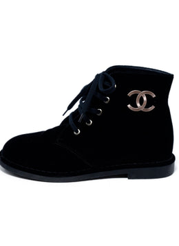 Chanel Black Velvet Lace-Up Booties 2