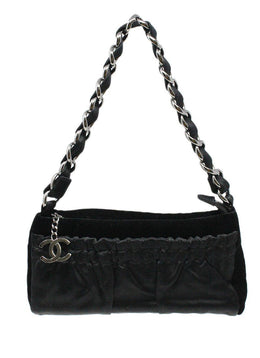 Chanel Black Velvet Shoulder Bag 2