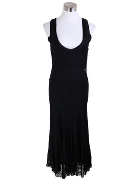 Long Chanel Black Viscose Dress 1