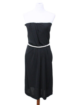Chanel Black Viscose Pearl Trim Strapless Dress Sz 8