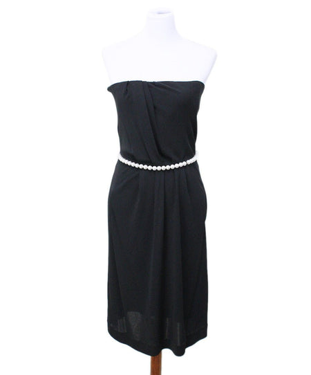 Bottega Veneta Black Silk Dress with Crochet and Chain Detail Size 6