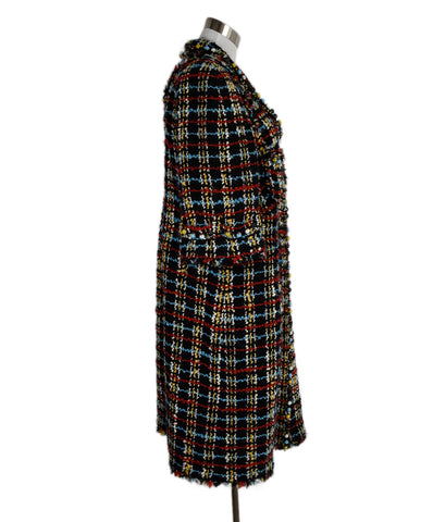 Chanel Black White Red Blue Wool Tweed Rhinestones Outerwear Coat 1