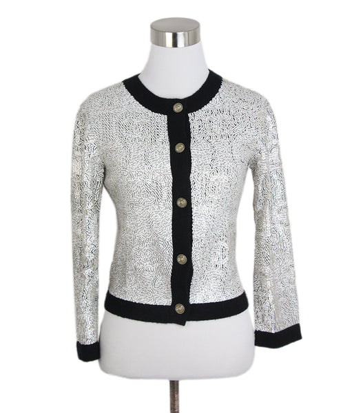 Chanel black white sequins cardigan 1