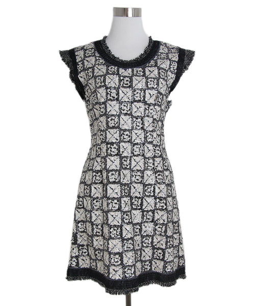 Chanel black white sequins cotton dress 1