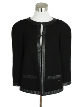 Chanel Black Wool Cotton Leather Trim Jacket 1