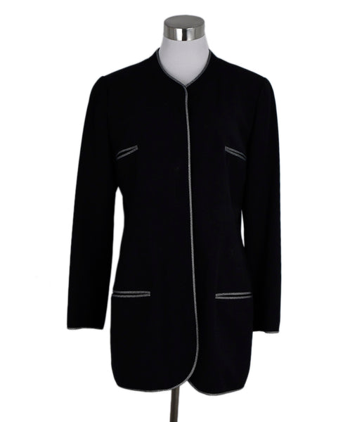"Chanel ""1996"" Black Wool Grey Jacket 1"