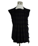 Chanel Black Wool Pleated Trim Top 1