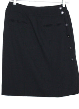 Chanel Black Wool Silk Skirt