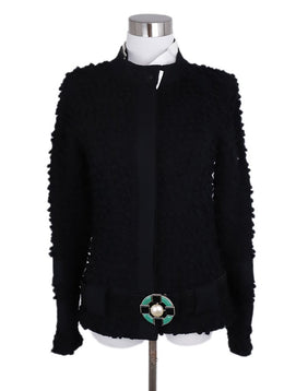 Chanel Black Wool White Collar Detachable Jacket 1