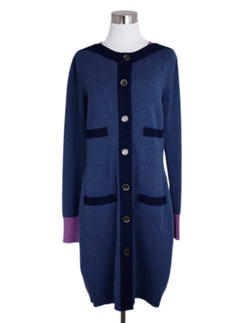 Chanel Blue Cashmere Navy Lilac Trim Cardigan Dress 1