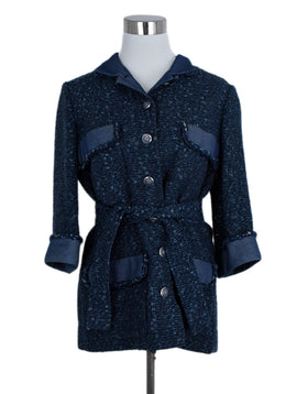 Chanel Blue Cotton Polyamide Belted Jacket 1