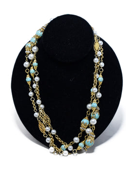 Chanel Blue Gold Metal Faux Pearl Long Necklace 1