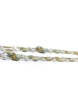 Chanel Blue Gold Metal Faux Pearl Long Necklace 2