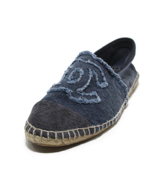 Chanel blue grey denim espadrilles flats 1