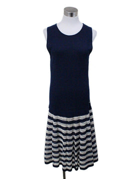 Chanel Blue Ivory Knit Dress