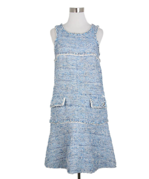 Chanel blue ivory tweed dres 1