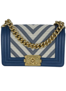 Chanel Blue Cornflower Leather Beige Chevron Trim Crossbody Handbag 1