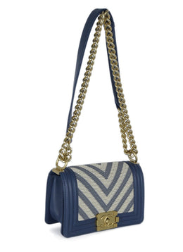 Chanel Blue Cornflower Leather Beige Chevron Trim Crossbody Handbag 2