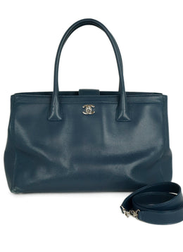 Chanel Small Cerf Blue Leather Tote Handbag 1
