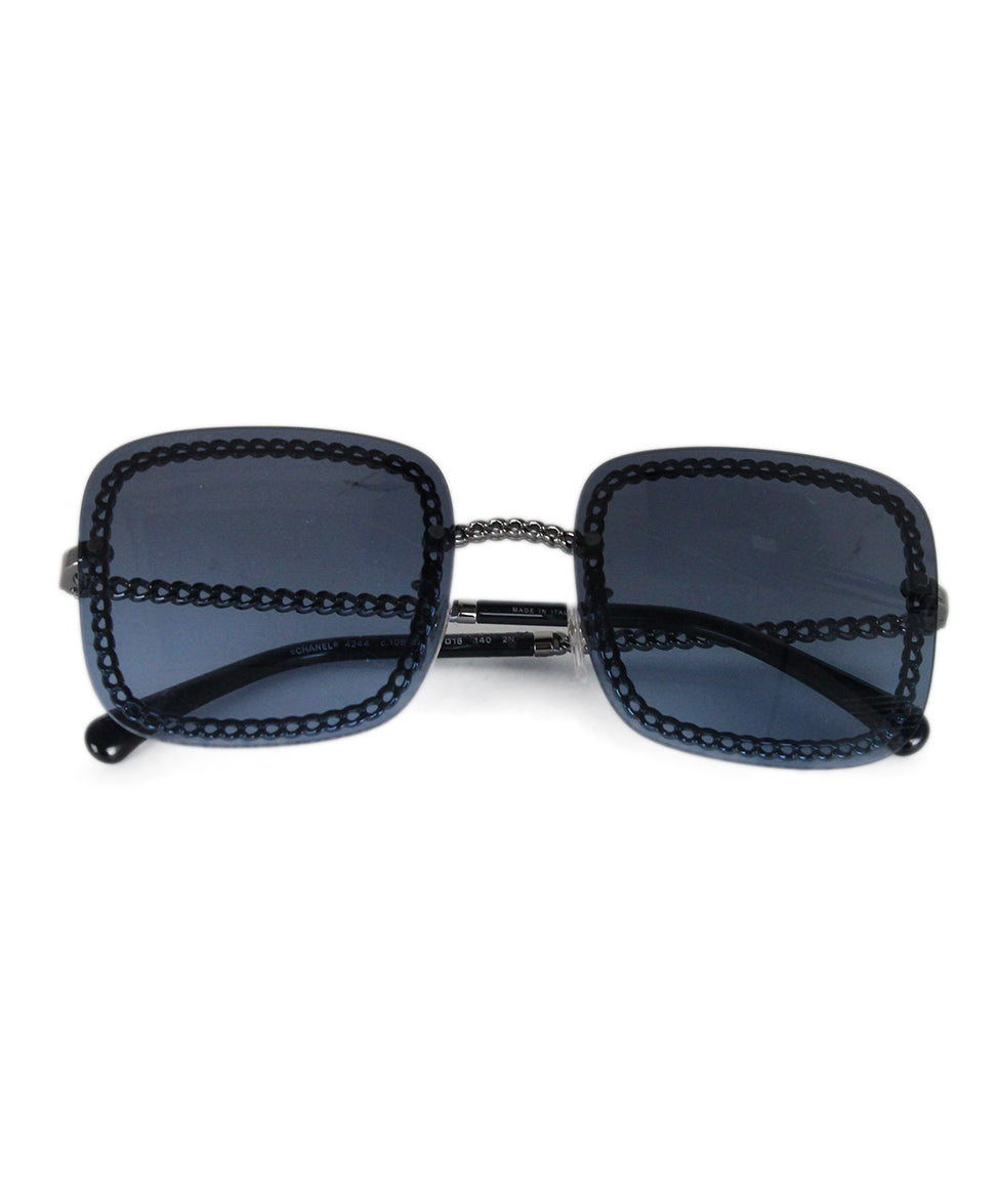 Chanel blue lens silver chain sunglasses 1