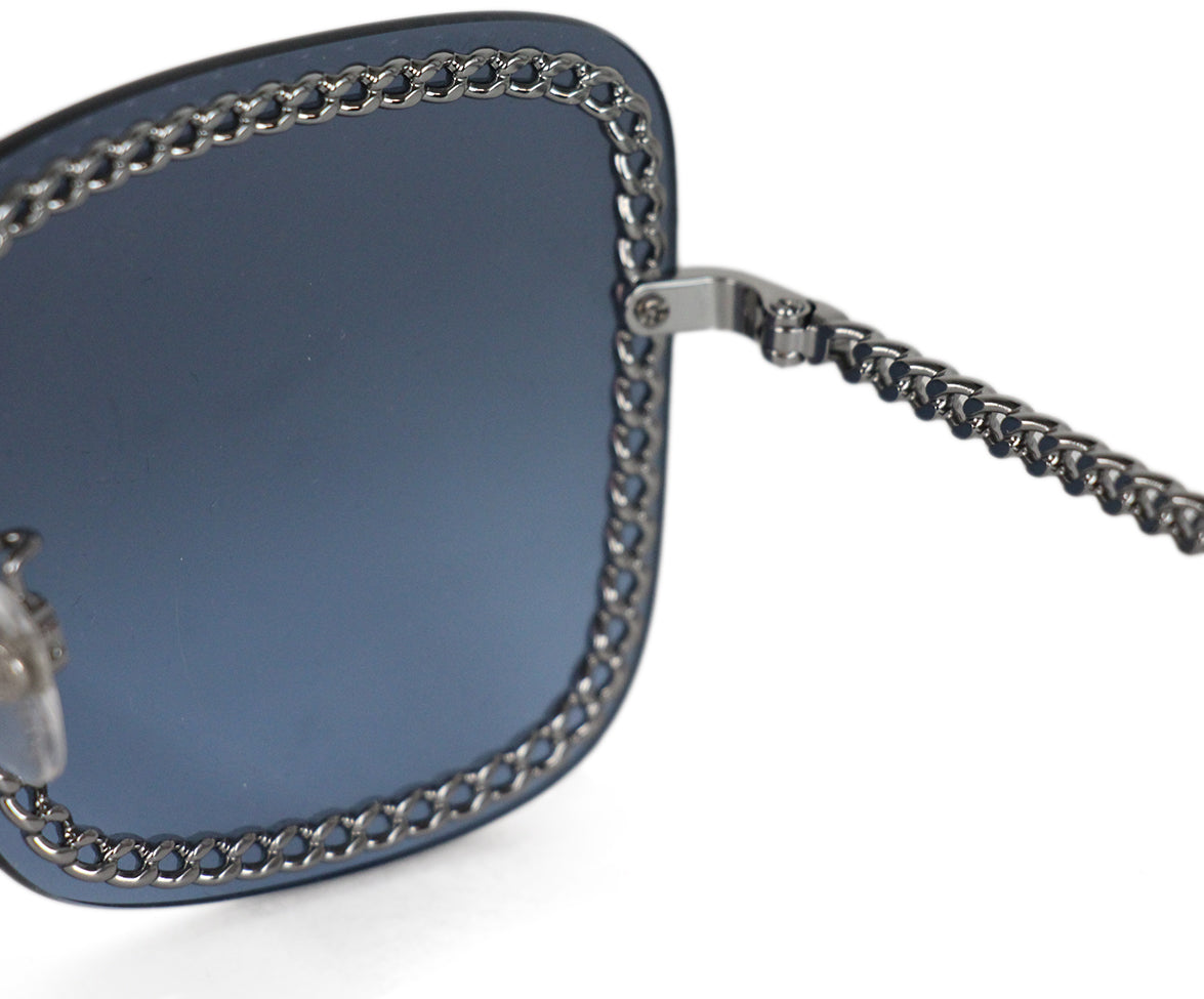 Chanel blue lens silver chain sunglasses 4
