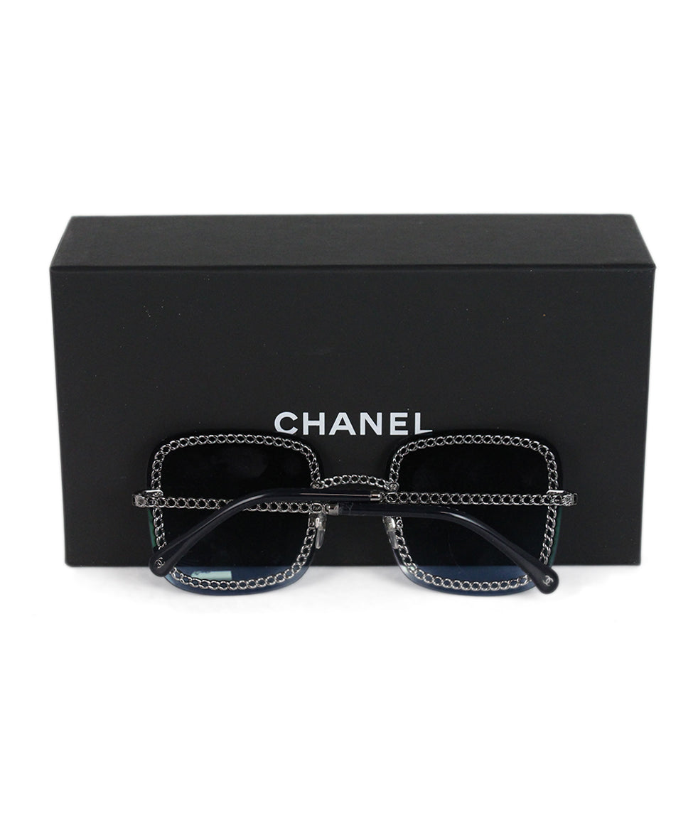 Chanel blue lens silver chain sunglasses 5