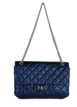 Chanel Blue Metallic Quilted Leather 2.55 Classic Reissue Handbag 1
