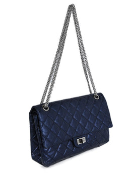 Chanel Blue Metallic Quilted Leather 2.55 Classic Reissue Handbag 2