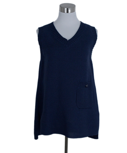 Chanel Blue Navy Cotton Sleeveless Top Vest 1