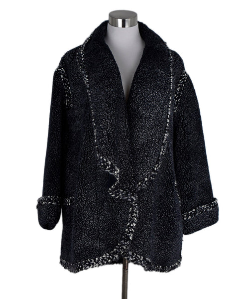 Chanel Navy Grey Shearling Coat 1