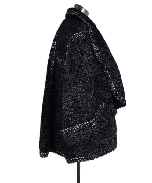 Chanel Navy Grey Shearling Coat 2