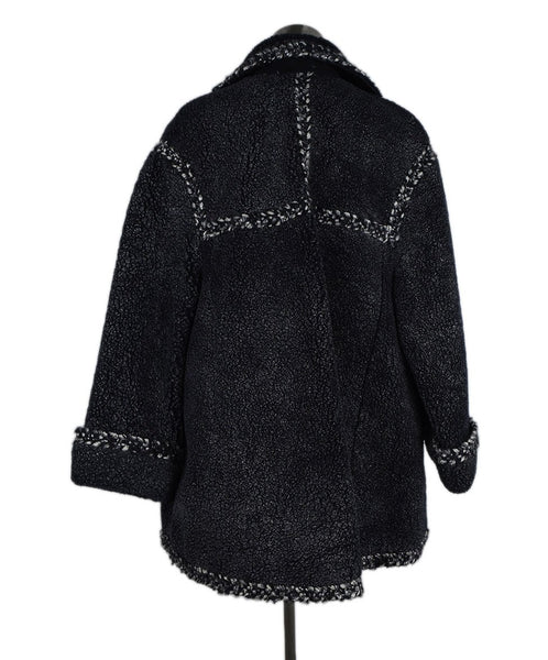 Chanel Navy Grey Shearling Coat 3