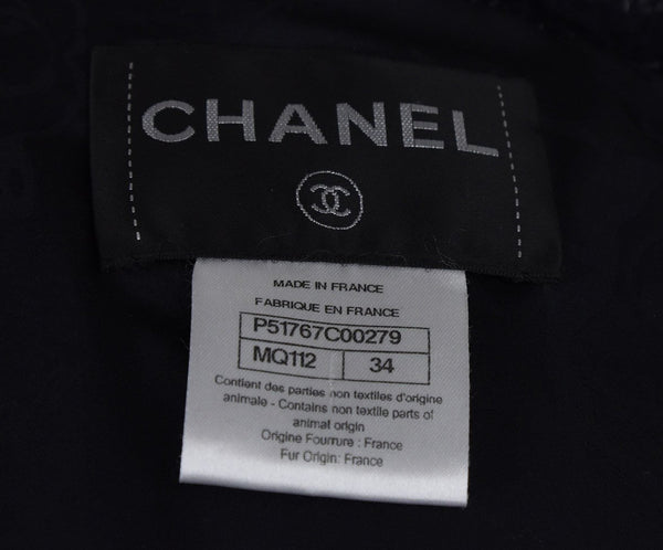Chanel Navy Grey Shearling Coat 4