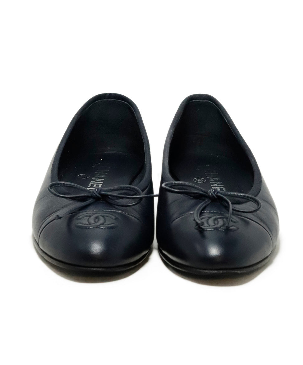 Chanel Blue Navy Leather Ballerina Flats 4