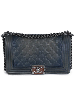 Chanel Blue Pewter Leather Medium Handbag