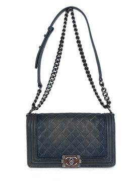Chanel Blue Pewter Leather Medium Handbag | Chanel